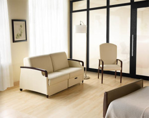 Perth Patient Room with double sleeper, patient chair, and Genius wall